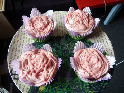 Pink purple flower cupcakes