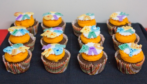 Orange cupcakes with typography
