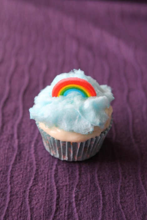 Rainbow cupcakes with cotton candy