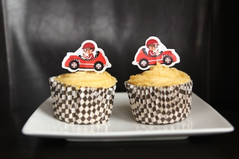 Pumpkin caramel speed racer cupcakes