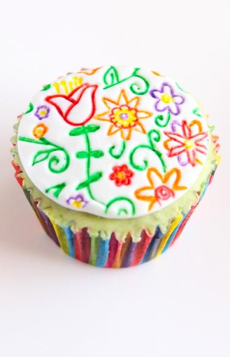 Embossed spring cupcakes