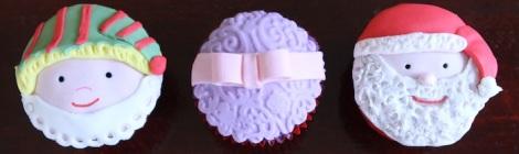 Xmas cupcakes: elf, gift, santa