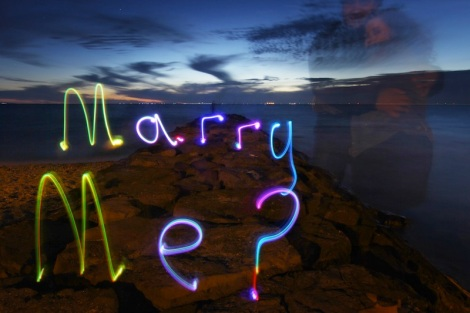 Marry me? Lighpainting proposal