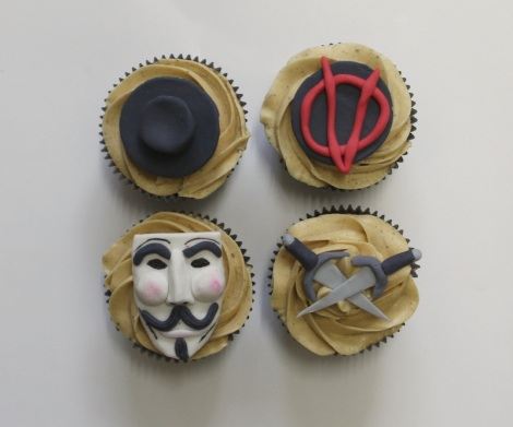 V of Vendetta cupcakes by cupcaketeer